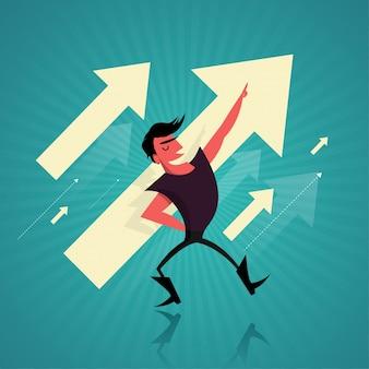 Concepto de éxito empresarial con el hombre de negocios y las flechas