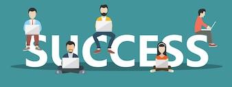 Concepto de éxito empresarial