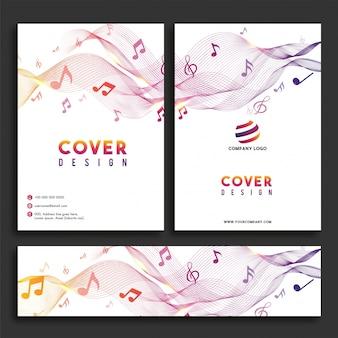 Concepto de la música, diseño de la cubierta y conjunto del jefe del Web.