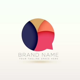 Concepto de logotipo de burbuja de texto abstracto