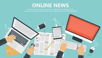 Concepto de noticias en línea