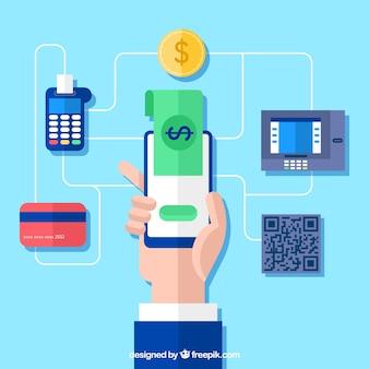 Concepto de pago online, el teléfono móvil