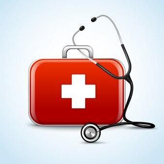 Concepto de primeros auxilios de atención médica con caja de medicina y estetoscopio ilustración vectorial
