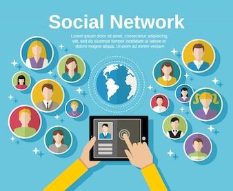 Concepto de red de medios sociales con la mano humana con avatares de tableta y el mundo en la ilustración vectorial de fondo