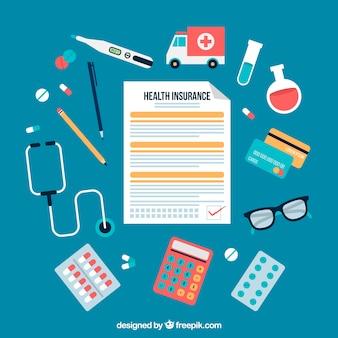 Concepto de seguro de salud con diseño plano