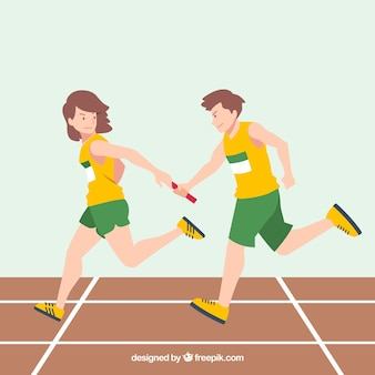 Concepto de trabajo en equipo con carrera de relevos