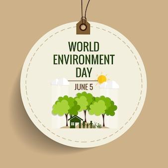 Concepto del día del medio ambiente mundial. Ilustración del vector