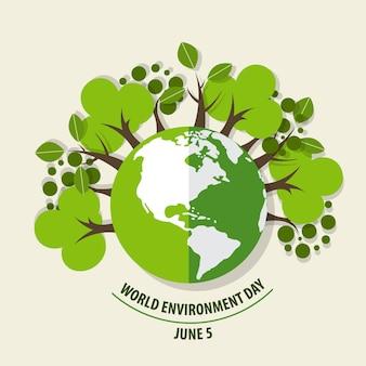 Concepto del día del medio ambiente mundial. Verde Eco Tierra. Ilustración del vector.