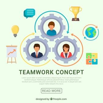 Concepto divertido de trabajo en equipo