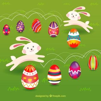 Conejitos juguetones con huevos decorados