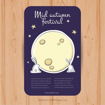 Conejos junto a la luna para el festival del medio otoño