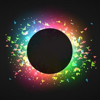 Confeti abstracto en un fondo oscuro y brillante