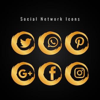Conjunto abstracto de iconos de redes sociales dorados