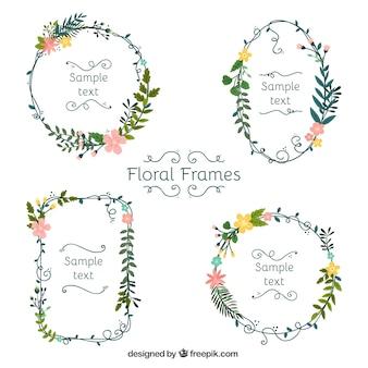 Conjunto adorable de marcos florales