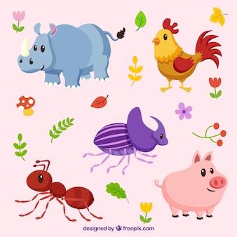 Conjunto bonito de animales e insectos