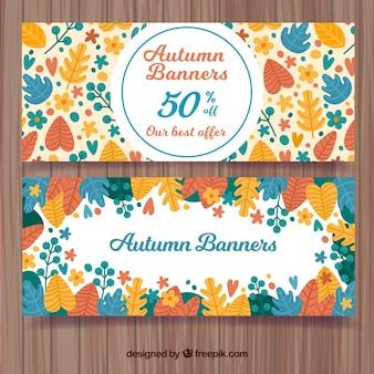 Conjunto colorido de banners para rebajas de otoño