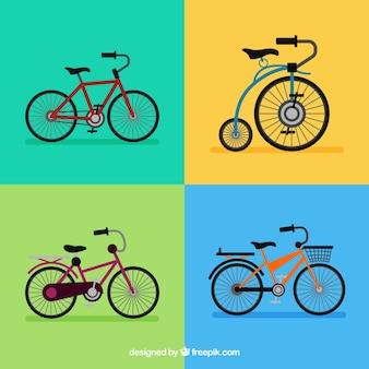 Conjunto colorido de bicicletas retro