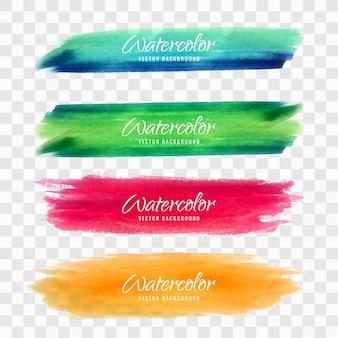 Conjunto colorido de diseños de acuarela