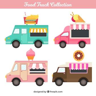 Conjunto colorido de food trucks adorables