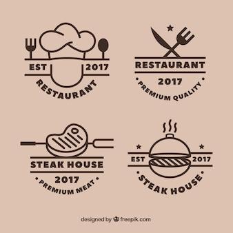 Conjunto con estilo de logos para restaurante de barbacoa