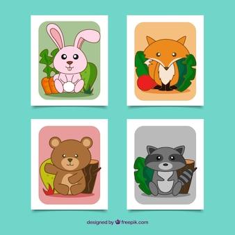 Conjunto con estilo de tarjetas adorables con animales