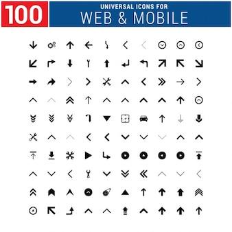 Conjunto de 100 iconos universales de web y móvil