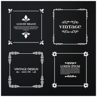 Conjunto de 4 Tipografía Vintage. Blanco Texto de la muestra en fondo negro del vintage.