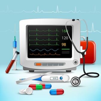 Conjunto de accesorios médicos realistas