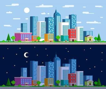 Conjunto de amplios panoramas del paisaje urbano