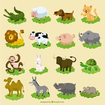 Conjunto de animales divertidos dibujos animados