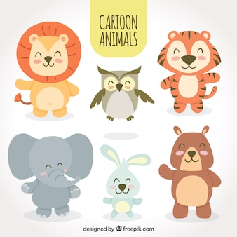 Conjunto de animales sonrientes de dibujos animados