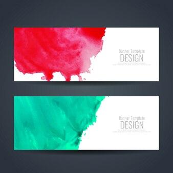 Conjunto de banners de acuarela roja y verde