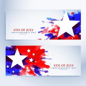 Conjunto de banners de bandera americana grunge