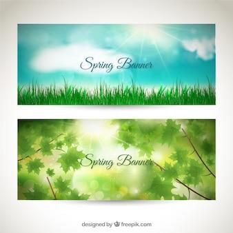 Conjunto de banners de primavera