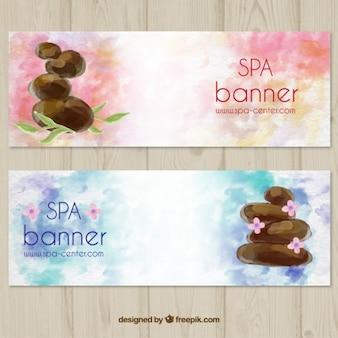 Conjunto de banners de spa en acuarela