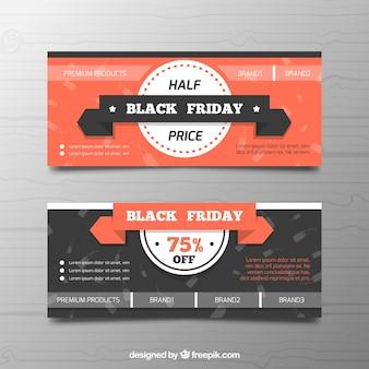 Conjunto de banners del viernes negro en estilo plano