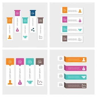 Conjunto de banners infográficos de colores