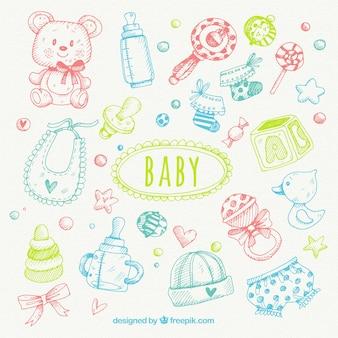 Conjunto de bocetos de elementos de bebé de colores