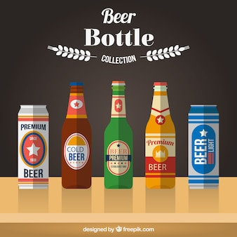 Conjunto de botellas y latas de cerveza