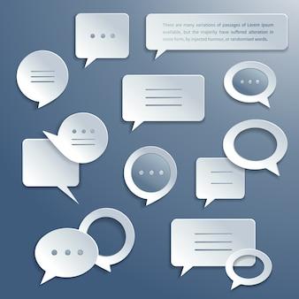 Conjunto de burbujas de discurso de papel abstracto