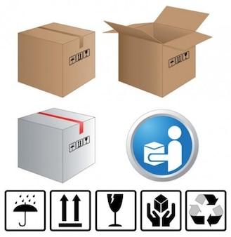 Conjunto de cajas de embalaje con símbolos