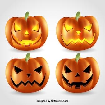 Conjunto de calabazas de Halloween