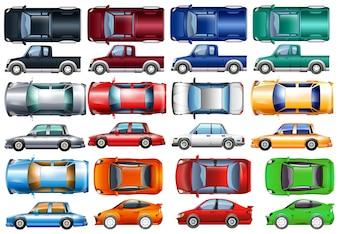 Conjunto de coches y camiones en muchos colores ilustración