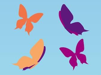 Conjunto de coloridas mariposas volando