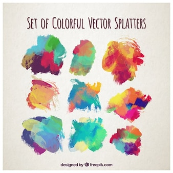 Conjunto de coloridas salpicaduras de acuarela