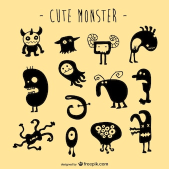Conjunto de criaturas monstruosas