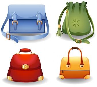 Conjunto de cuatro diferentes estilos de bolsas de moda femenina