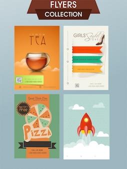 Conjunto de cuatro folletos diferentes, banners o diseño de plantillas