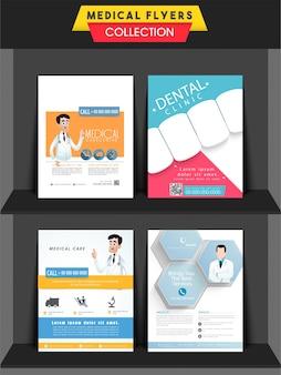 Conjunto de cuatro folletos diferentes o plantillas de diseño para la salud y concepto médico