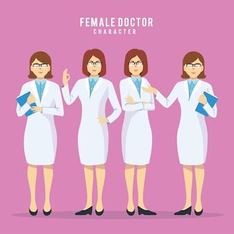 Conjunto de cuatro médicos de belleza femenina en diferentes plantean